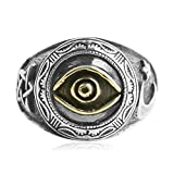 Beydodo Mens Silver Ring, The Eye Of God Star Moon Ring Size 11 Punk Biker Ring Bands