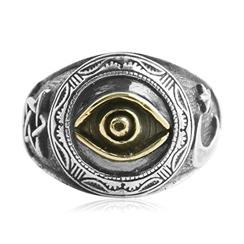 Beydodo Mens Silver Ring, The Eye Of God Star Moon Ring Size 11 Punk Biker Ring Bands by Beydodo