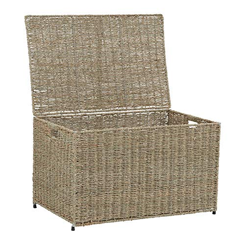 Storage Chest Decorative (Household Essentials ML-5665 Decorative Wicker Chest with Lid for Storage and Organization | Large | Light Brown)