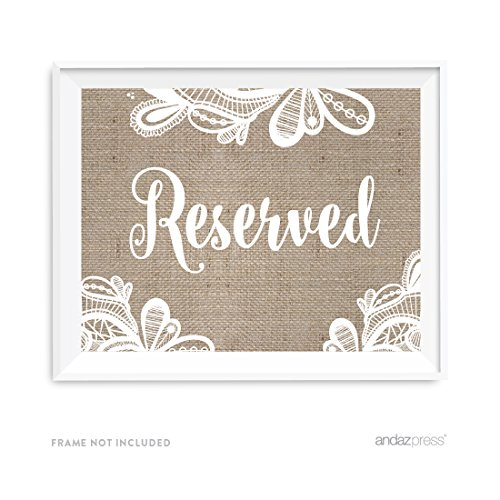 Andaz Press Burlap Lace Print Wedding Collection, Party Signs, Reserved, 8.5x11-inch, 1-Pack