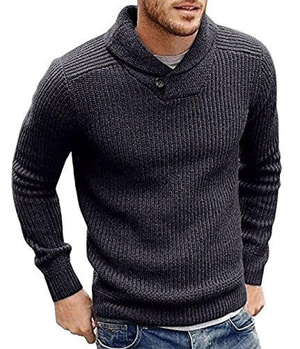 Taoliyuan Mens Casual Autumn and Winter Pure Color Pullovers Knitting Sweaters