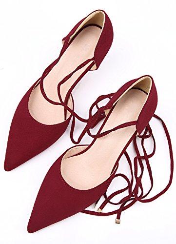 Rot von Pumps Spitzschuh BigTree Sandalen Gladiator Stiletto Pumps Damen Schuhe Pumps Sandalen Schnürschuhe 1qTwWw76UR