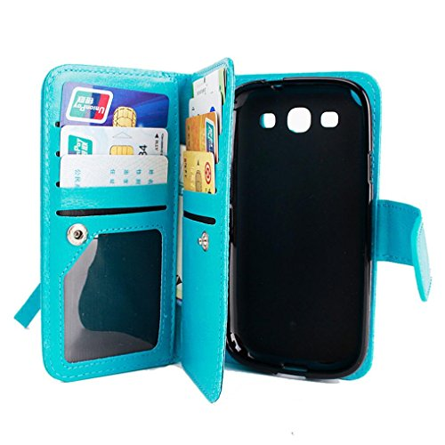 , Voberry® Flip Leather Wallet Case Cover 9 Card slot Credit Card ID Card Holder for Samsung Galaxy Grand Prime G530H G5308 (Blue)
