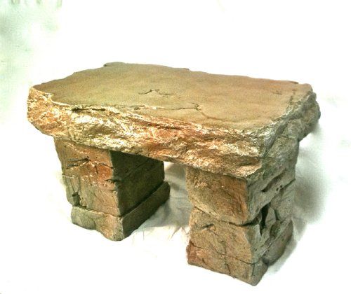 """Garden Bench"" Cast Stone Granite Rock Bench 3 Piece, Patio Furniture, Concrete Bench Hand Sculpted Rustice Garden Decor For Sale"
