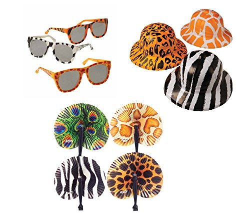 - Safari Wild Animal Toy Party Favor Supplies 36 Piece Set for 12 Bundle Hats Folding Fans Sunglasses