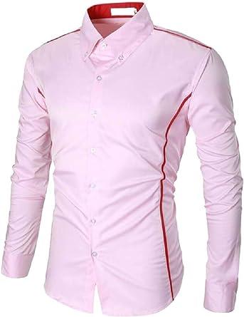 SOWTKSL Camisa de Manga Larga con Botones y Cuello hacia Abajo para Hombre Rosa Rosa S: Amazon.es: Ropa y accesorios