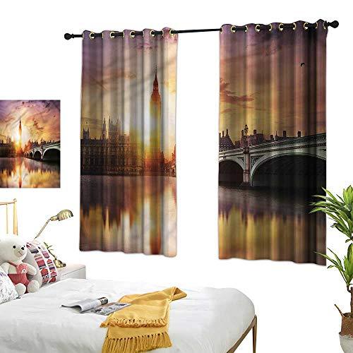 London Blackout Curtains Westminster Bridge at Dusk Home Garden Bedroom Outdoor Indoor Wall Decorations 55