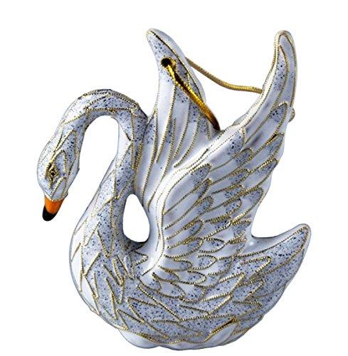Cloisonne Christmas Tree - Cloisonne Swan Christmas Ornament, Enamel on Copper