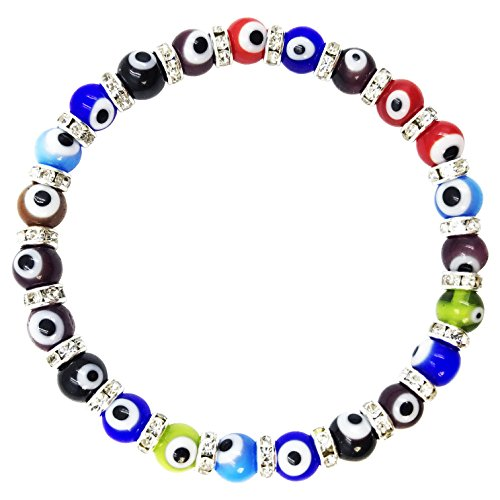 2283 Rainbow Evil Eye Murano Glass Bead Bracelet with Crystal Spacers for Women Kabbalah Jewelry