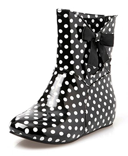 Aisun Womens Cute Antislip Polka Dots Ronde Neus Jurk Platte Slip Op Booties Korte Regenlaarzen Met Strikjes Zwart