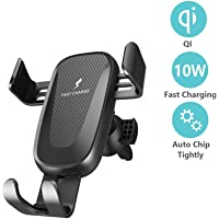 Qi Wireless Car Charger Mount,IGUGIG 10W/7.5W Fast Charging, Adjustable Gravity Air Vent Phone Holder for Car Compatible with iPhone Xs Max XR 8 Plus, Samsung S10 S9 S8, LG V30