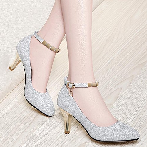 HGTYU-A New Autumn Fashion Shoes High Heeled Shoes Buckle Word All Match Leisure Shoes Thirty-eight 1Wo4V