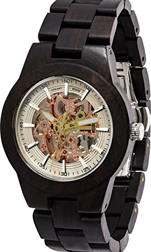 Classy Automatic Mechanical GOLD Men's Wooden Watch - 100% Natural Blackwood - Dreamy Wood Watch - Stylish Wrist Wood Watch