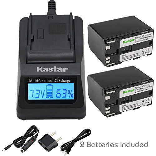 Kastar Fast Charger + Battery 2-Pack for Canon BP-970G BP-975 & EOS C100, EOS C100 Mark II, EOS C300 C300 PL, EOS C500 C500 PL GL2 XF100 XF105 XF200 XF205 XF300 XF305 XH A1S, XH G1S, XL H1A XL H1S XL2