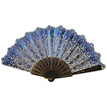 Foldable Raw Silk Printing Folding Fan 60BLK-LA-METALIC-BLUE-2PC