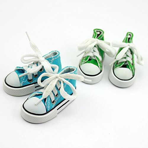 Doll Shoes Sneaker Set for Disney Princess & Me Dolls, Animators Dolls, Green & Blue Sneakers
