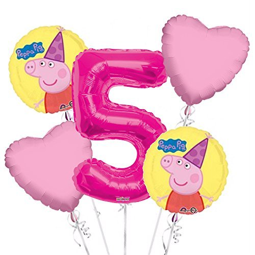 Peppa Pig Balloon Bouquet 5th Birthday 5 pcs - Party Supplies Pink ()