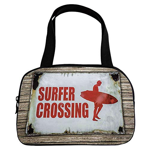(iPrint Personalized Customization Small Handbag Pink,Surf,Vintage Rusty Ironic Surfer Crossing Warning Sign on Wooden Background in Haiti,Red Cream Brown,for Girls,Personalized Design.6.3