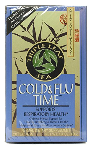 Chinese Medicinal Tea-Cold & Flu Time - Triple Leaf Tea - 20 - Bag (Best Herbs For Cold And Flu)