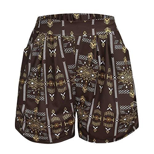Shorts for Women Kstare Womens Swim Printed Elastic High Waist Retro Quick Dry Beach Wear Bottom Trunks Boardshorts Brown ()