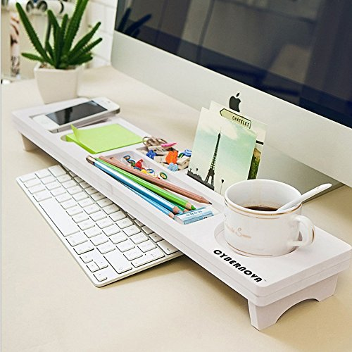 CYBERNOVA Desk Organiser Office Small Objects Storage Keyboard Commodity Shelf (Tables Single Shelf Mobile)