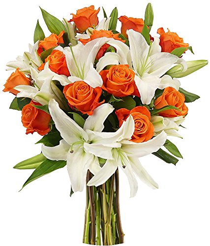 Benchmark Bouquets Orange Roses and White Oriental Lilies, No Vase