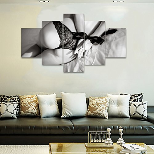 Framed Poster Lingerie (5 Panel Naked Girl Picture Sexy butt Lace Lingerie Painting Modern Artwork Prints Posters on Canvas Wall Decor Picture For Living Room Bedroom Framed Stretched (60''W x 32''H))