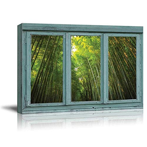 Vintage Teal Window Looking Out Into a Green Bamboo Forest