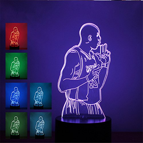 3D Abstact Smoking Man Football Star Night Light 7 Color Change LED Table Desk Lamp Acrylic Flat ABS Base USB Charger Home Decoration Toy Brithday Xmas Kid Children Gift