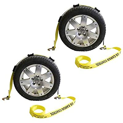 """2"""" x 14' OEM Car Carrier Replacement Wheel Strap with 2 Swivel J Hooks and 3 Adjustable Rubber Cleats"""