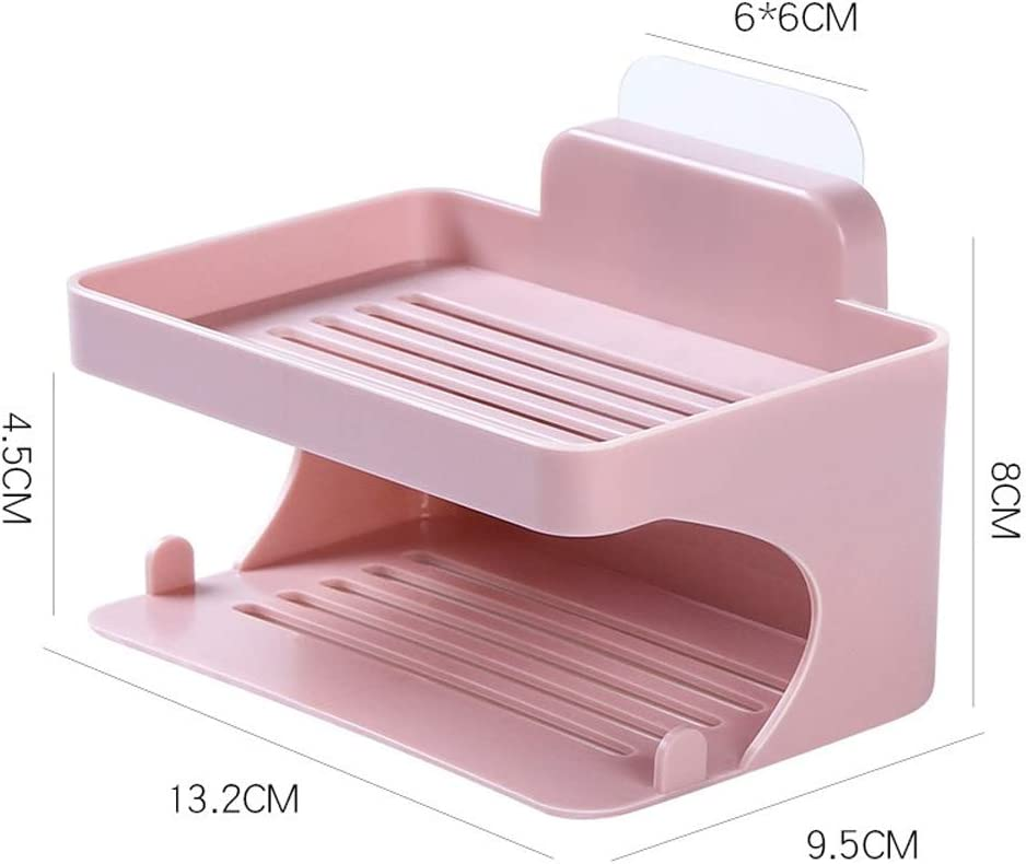 RICH Double Layer Sponge Soap Dish Wall Mount Suction Cup Soap Storage Box for Home Kitchen Bathroom Grey