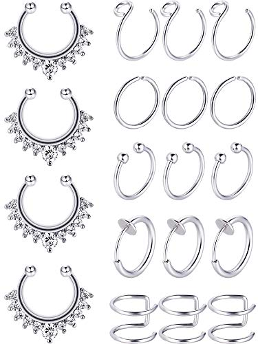 Blulu Fake Nose Ring Hoop Set Stainless Steel Nose Lip Ear Ring Piercing Jewelry Septum Ring Non-Pierced Clip On Cartilage Cuff Body Jewelry, 19 Pieces Totally, 6 Styles (Steel Color)