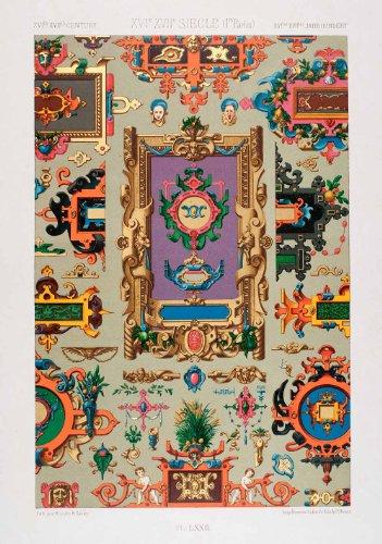 1875 Chromolithograph Flemish Decorative Element Scrollwork Motif Design Frame - Original Chromolithograph from PeriodPaper LLC-Collectible Original Print Archive