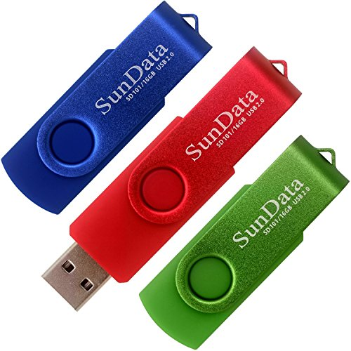 SunData 16GB USB 2.0 Flash Drive (3Pack Blue Green Red)