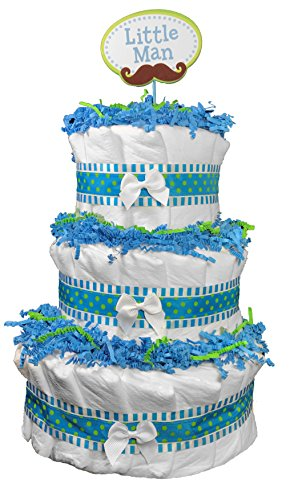 Diaper Cakes for a Boy Baby Shower - Blue Do it Yourself Centerpiece with Little Man Mustache (Baby Boy Diaper Cakes)