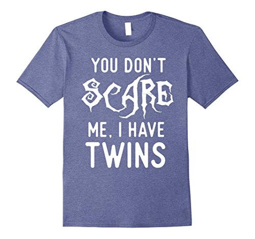 Mens Funny Parent of Twins Shirts Halloween Costume Joke Gifts. Large Heather Blue
