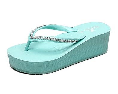 Cheerlife Damen Flip Flops Zehntrenner Pantoletten Keilabsatz Badelatschen Strandschuhe Sommer Casual L Blau QZgJmvFZ