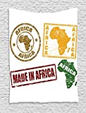 Ambesonne African Tapestry, Grunge Rubber Stamps Made in Africa Quote Inside Authentic Symbols Theme, Wall Hanging for Bedroom Living Room Dorm, 60 W X 80 L inches, Yellow and Red