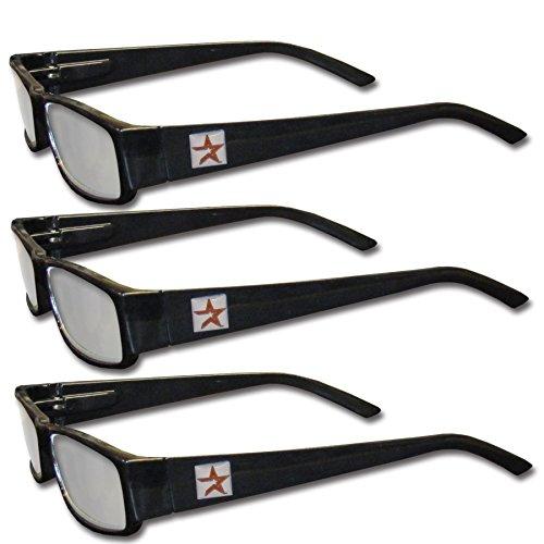 MLB Houston Astros Adult Reading Glasses (3-Pack), Black, Reading Power: +1.50