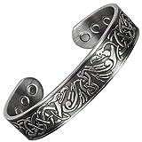 "Viking Bracelet Copper Bracelet with magnets for Pain-Arthritis Carpal Tunnel Healing Bangle Magnetic Therapy Bracelet - Eagles Antique Silver (XL:Wrist 21-24cm/8""-9.5"")"