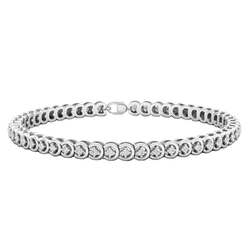 1.00 Carat (ctw) Sterling Silver Round Cut White Diamond Ladies Tennis Bracelet 1 CT