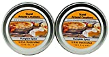 Premium 100% Candle - Set of 2 - 2 oz Tins Pumpkin Spice: A true-to-life fragrance bursting w/ fresh pumpkin. Mouthwatering notes of butter, sugar, and spices.