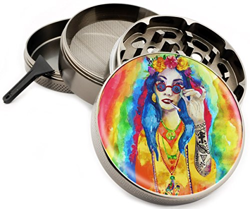Trippy-Hippie-Girl-Herb-Grinder-4-Piece-Zinc-Titanium-Premium-Quality-Grinders-25-Wide-Rainbow-Watercolors-psychodelic-Girls-Colorful-Design-Gift-Box