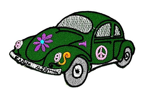 2.25 x 3.75 inches Sunflower in Green Car Hot Green Hippie Cartoon Kids Children Cute Animal Patch for DIY Applique Iron on Patch T shirt Patch Sew Iron on Embroidered - This Ideas Hippie Costume For Year