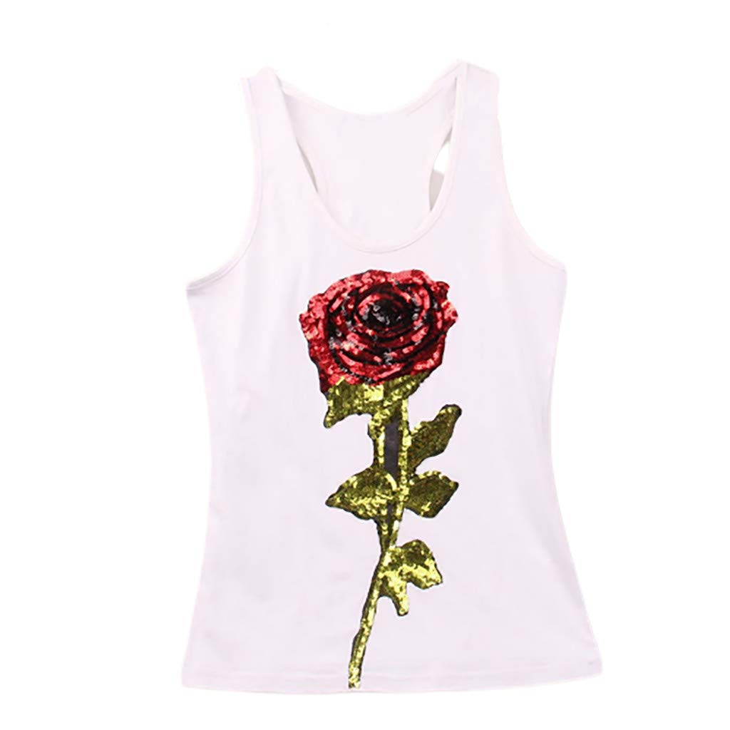 Tank Tops for Women Print Casual Sequin Rose Sleeveless Sport Vest O-Neck Comfy Blouse (M, White)
