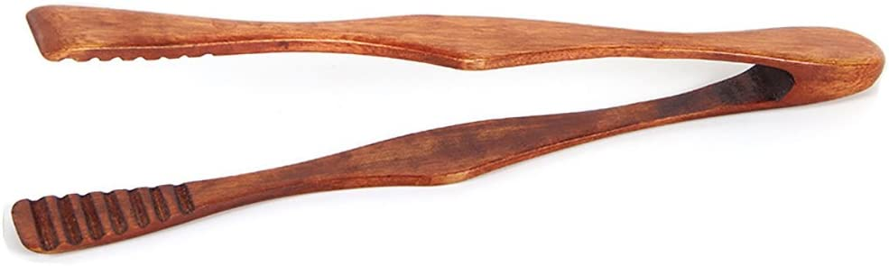 """Premium Wooden Tongs, 10"""" Grip Non-stick Non Toxic Insulation Toaster Tongs"""