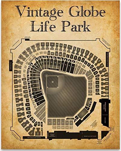 Vintage Globe Life Park Baseball Stadium Art Print 11x14 Unframed Art Print