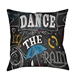 Thumbprintz Chalkboard Dance in The Rain Throw/Floor Pillow Small 14 x 14