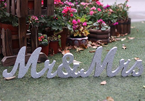 Amajoy Large Vintage Silver Glitter Mr & Mrs Wooden Letters Wooden Sign for Wedding Decoration Home Decoration Table - Glitter Wooden