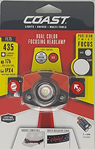 Coast Twist Focus Dual Color 435 Lumens High Power Headlamp Flashlight, Quality Professional Design, Adjustable Red Safety - Focusing Headlamp